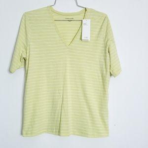 Eileen Fisher Slub Stripe Lemic V Neck Shirt
